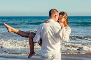 adults beach couple enjoyment